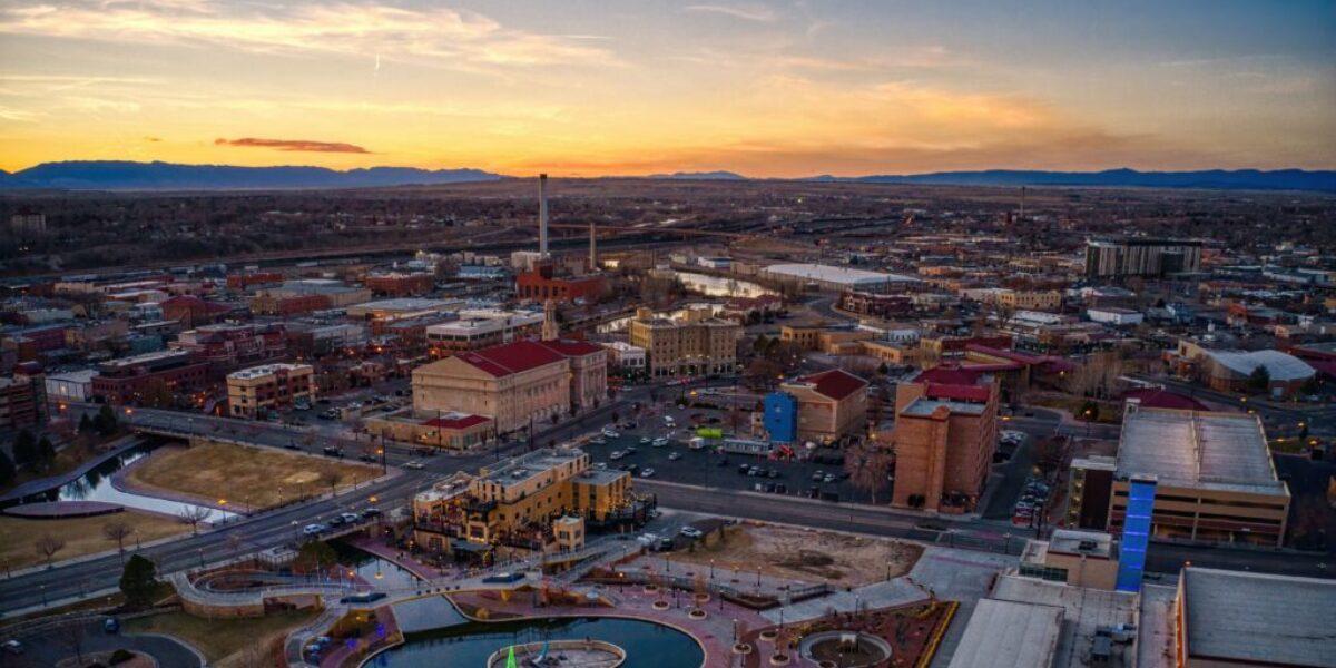 Aerial View of Pueblo, Colorado at Sunset