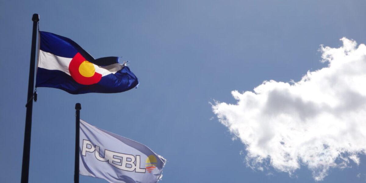 Pueblo and Colorado flags